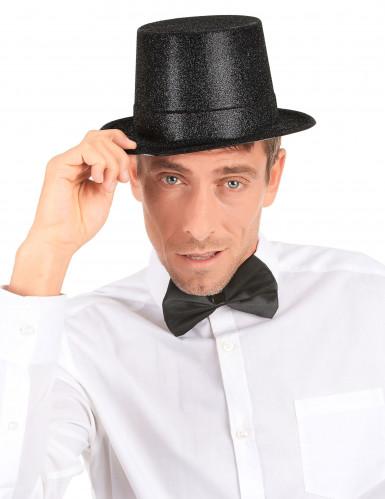 Chapéu de plástico preto brilhante adulto-2