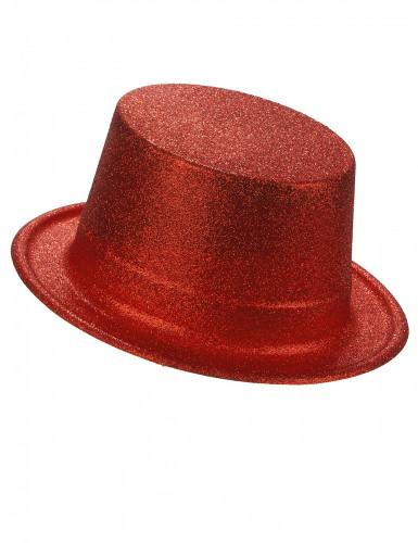 Chapéu alto de plástico vermelho brilhante adulto
