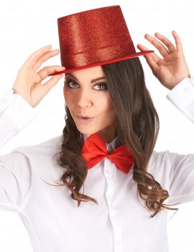 Chapéu alto de plástico vermelho brilhante adulto-1