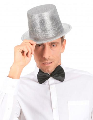 Chapéu alto plástico brilhante prateado adulto-2