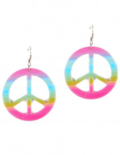 Brincos paz e amor colorido em plástico - adulto