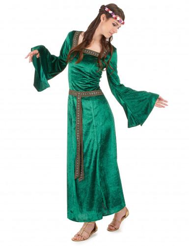 Disfarce medieval verde efeito veludo mulher-1