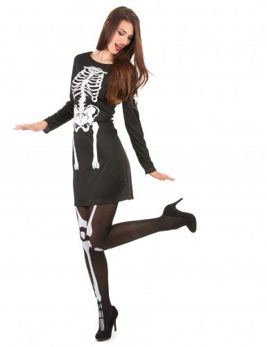 Disfarce esqueleto Halloween mulher-1