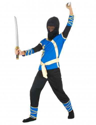 Disfarce ninja azul e dourado menino-1