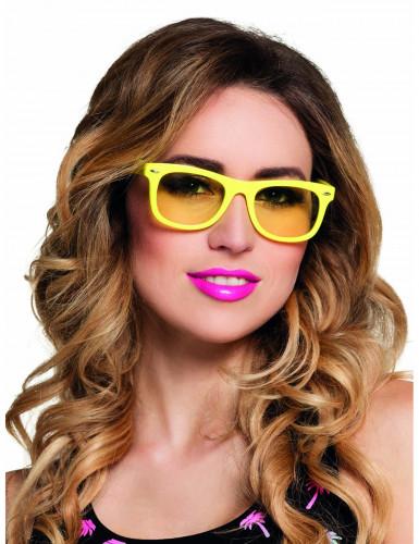 Óculos amarelos fluo anos 80' adulto