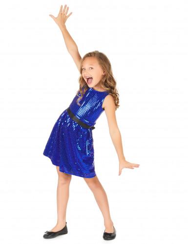 Disfarce vestido disco azul com lantejoulas e laço menina-1
