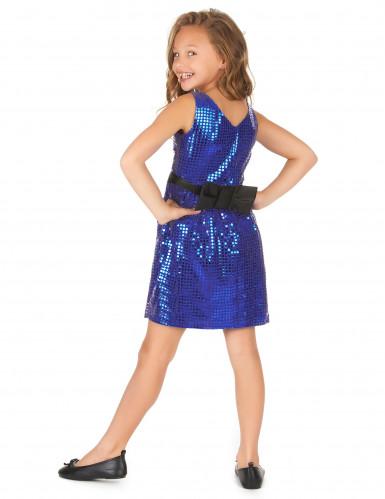 Disfarce vestido disco azul com lantejoulas e laço menina-2