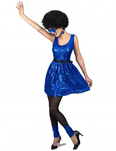 Disfarce vestido disco azul com lantejoulas e laço mulher-1