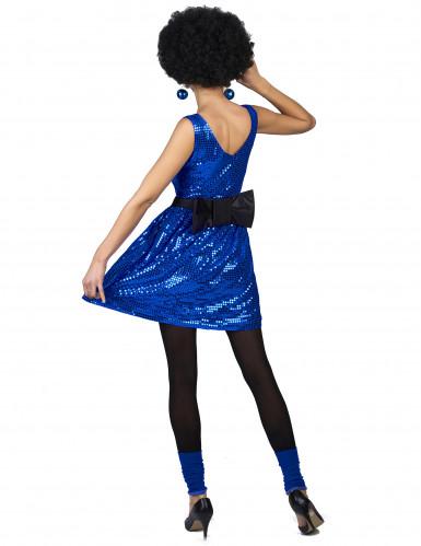 Disfarce vestido disco azul com lantejoulas e laço mulher-2