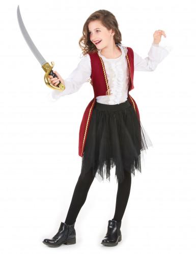 Disfarce pirata veludo vermelho e preto menina