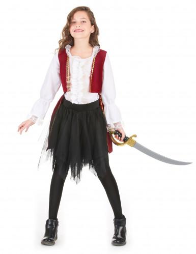 Disfarce pirata veludo vermelho e preto menina-1