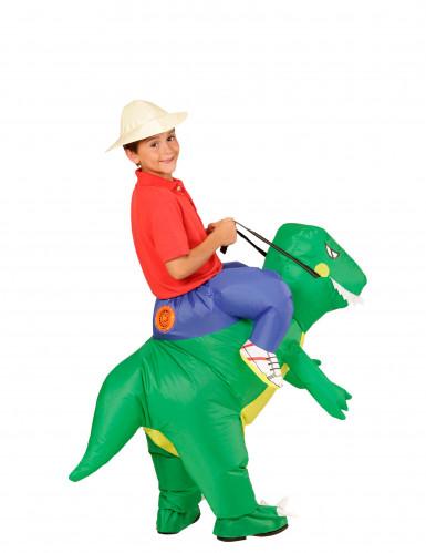 Disfarce explorador às costas de um dinossauro criança-2