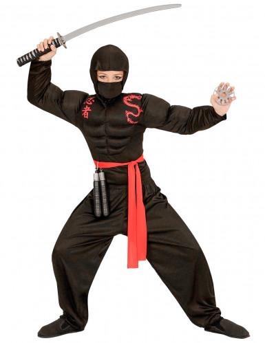 Disfarce ninja musculoso preto menino