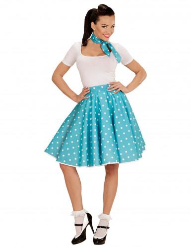 Saia e lenço turquesa às bolas anos 50 mulher-1