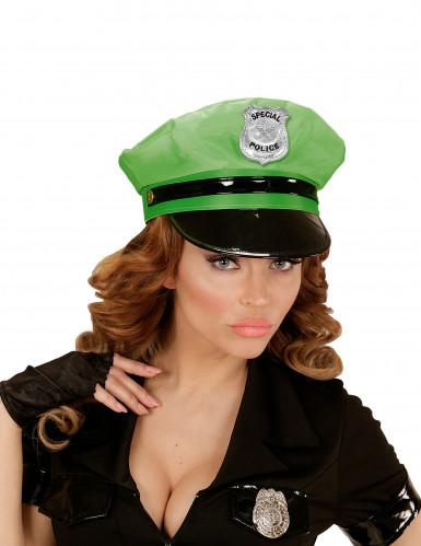 Boné de polícia verde adulto