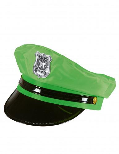 Boné de polícia verde adulto-1