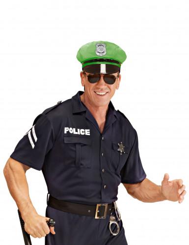 Boné de polícia verde adulto-2