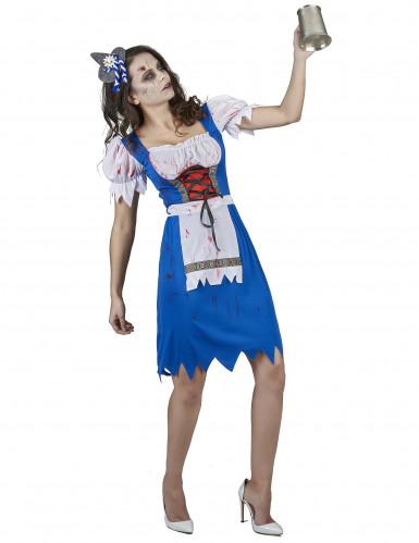 Disfarce zombie bávara azul mulher-1