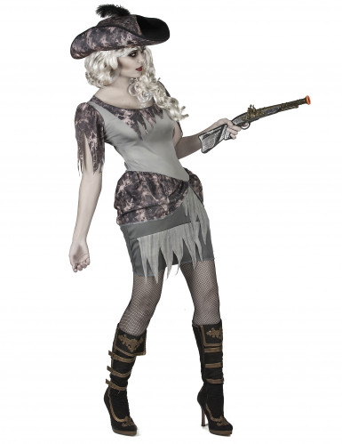 Disfarce pirata fantasma cinzenta mulher-1