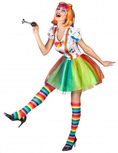 Disfarce palhaço pintura colorida mulher-1