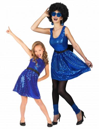 Disfarce de casal disco azul mãe e filha