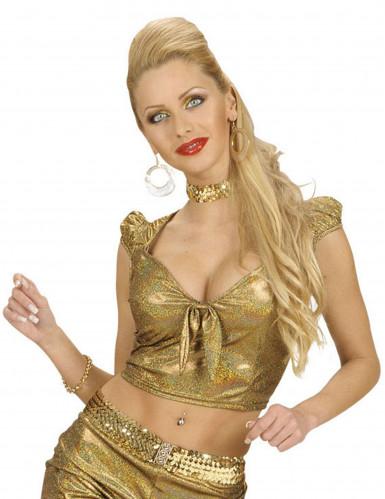 Top holográfico dourado com laço sexy mulher