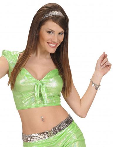 Top holográfico verde com laço sexy mulher
