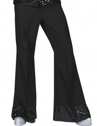 Calças disco pretas com lantejoulas na extremidade homem