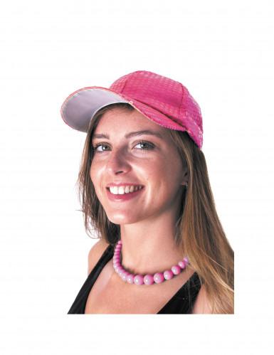 Colar pérolas grossas cor-de-rosa adulto-1