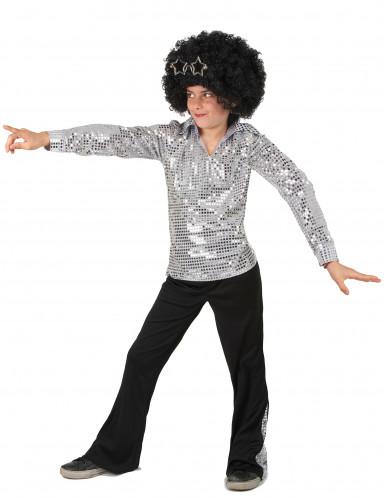 Disfarce Disco prateado menino-1