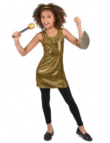 Disfarce disco lantejouas douradas menina