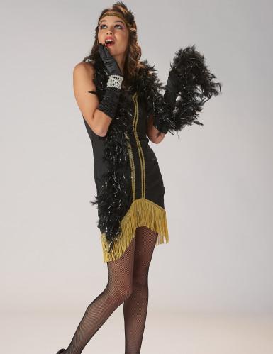 Disfarce Charleston preto e dourado com franjas mulher-5