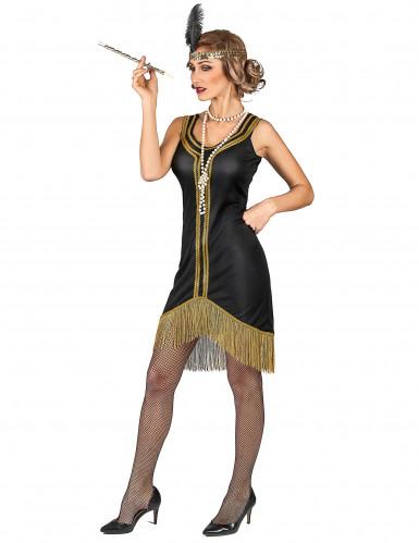 Disfarce Charleston preto e dourado com franjas mulher-1