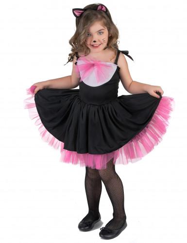 Disfarce Gato preto e cor-de-rosa menina-1