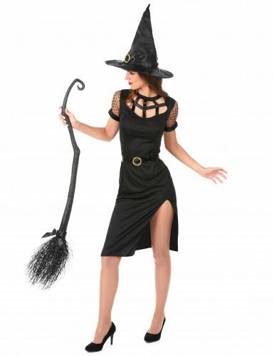 Disfarce Bruxa sexy preta Halloween mulher-1