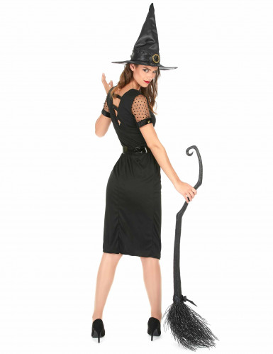 Disfarce Bruxa sexy preta Halloween mulher-2