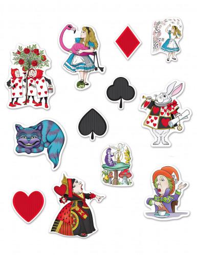 12 decorações em cartão Alice no País das Maravilhas