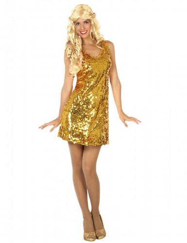 Disfarce vestido disco sexy dourado mulher