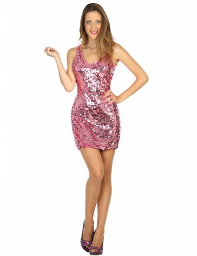 Disfarce vestido disco sexy cor-de-rosa mulher