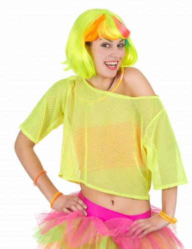 T-shirt curta rede amarela anos 80' mulher