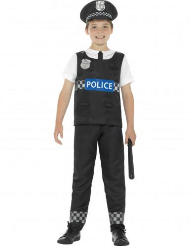 Disfarce polícia preto e branco menino