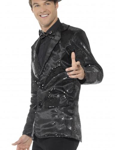 Casaco disco preto com lantejoulas luxo homem-1