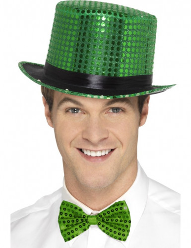 Chapéu alto com lantejoulas verdes e fita preta adulto
