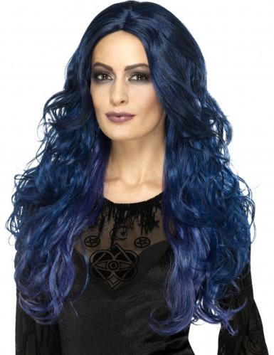 Peruca comprida azul escuro mulher