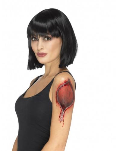 Tatuagem temporária fecho-éclair Halloween adulto