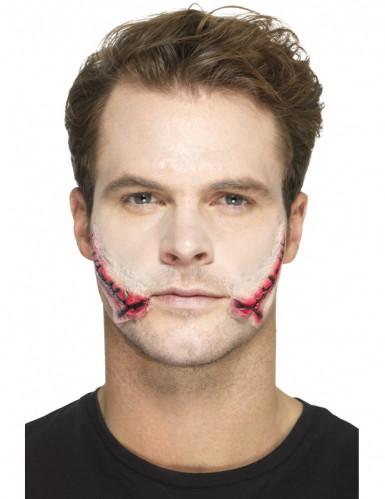 Prótese látex boca suturada adulto Halloween-1
