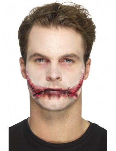 Prótese látex boca suturada adulto Halloween-2
