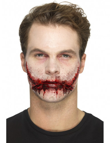 Prótese látex boca suturada adulto Halloween-3