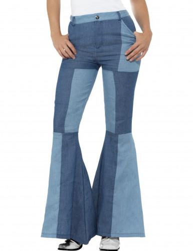 Calças pachwork azul mulher