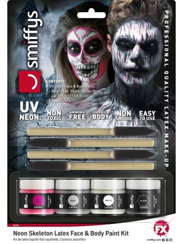 Maquilhagem látex esqueleto fosforescente mulher Halloween-2